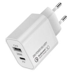 COLORWAY 1x USB a 1x USB-C/ síťová nabíječka/ 20W/ 100V-240V/ Bílá