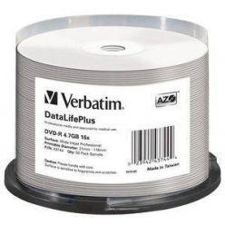 Verbatim DataLifePlus DVD-R Wide Printable, 4.7GB, no ID, 16x, 50ks, spindle