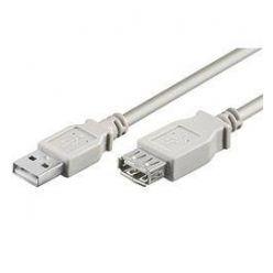 PremiumCord USB 2.0 kabel prodlužovací, A-A, 1m, šedý
