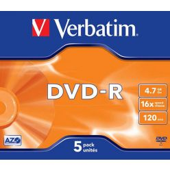 Verbatim DVD-R Matt Silver, 4.7GB, 16x, 5ks, jewel case