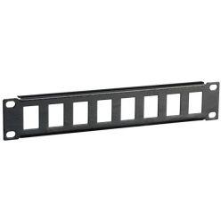 """Patch panel pro keystone 10"""", 1U, 8 portů, černý"""