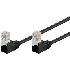UTP patchkabel kat. 5e, lomené konektory (90°), černý, 3m