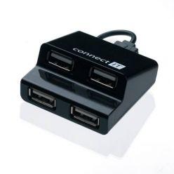 CONNECT IT CI-108, 4-portový USB 2.0 hub, černý