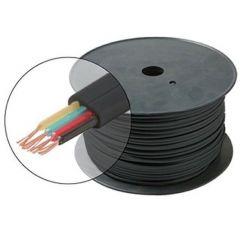 Plochý telefonní 4-žilový kabel, CCS, černý, 1m