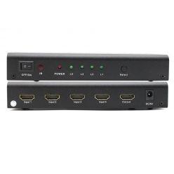 PremiumCord HDMI switch 4:1 kovový s dálkovým ovladačem a napájecím adaptérem