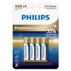 Philips Premium Alkaline AAA baterie, 1.5V, 4ks
