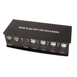KVM přepínač (USB klávesnice a myš, HDMI, audio) 4:1 USB + USB Hub, 4K