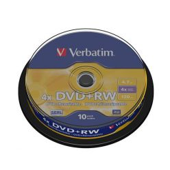 Verbatim DVD+RW Matt Silver, 4.7GB, 4x, 10ks, spindle