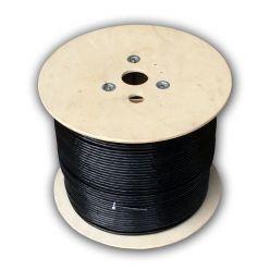 DATACOM S/FTP drát CAT7  PE,Fca  500m cívka, plášť černý  OUTDOOR
