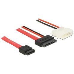 Delock Cable Slim SATA female > SATA 7 pin + 2 pin power male 70 cm
