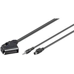 Kabel Scart(M) - S-video(M) / jack3,5M, přepínač vstup/výstup, 5m