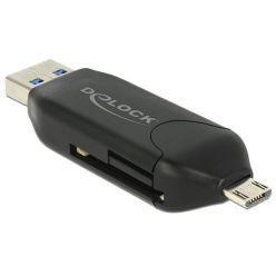 Delock Micro USB OTG čtečka karet + USB 3.0 A male
