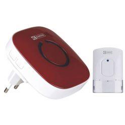 Emos domovní bezdrátový zvonek 838R, sada 1 tlačítko + 1 zvonek, 52 melodií, 230V, červená