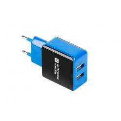 Universální nabíječka Natec V/2,1A, 2x USB, černo-modrá