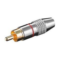 Konektor cinch(M) na kabel, červený pruh, zlacený