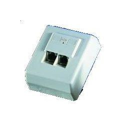 Zásuvka STP kat.5e na omítku, pro 2 konektory, bílá