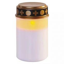 Emos LED hřbitovní svíčka, 12,5 cm, venkovní i vnitřní, vintage, časovač, 2x C