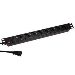 """19"""" napájecí panel 1U, 8x zásuvka DE, vidlice IEC320 C14, černý, 2,0 m"""