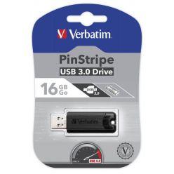 Verbatim PinStripe 16GB flash disk, USB 3.0, černý