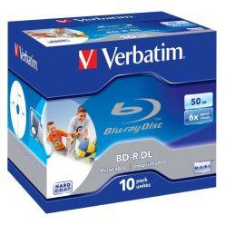 Verbatim BD-R DL Wide Printable, 50GB, no ID, 6x, 10ks, jewel case
