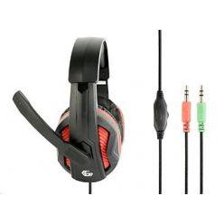 Gembird GHS-03 Gaming, herní sluchátka s mikrofonem, černo-červená