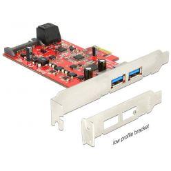 Delock USB 3.0 + SATA III řadič, 2x USB 3.0 + 2x SATA III, LP, PCIe