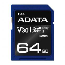 ADATA 64GB SDXC karta, UHS-I U3, V30, 95R/60W