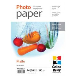 COLORWAY fotopapír/ matte 190g/m2, A4/ 20 listů