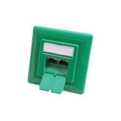 Zásuvka STP kat. 6 pod omítku, 2 konektory, vertikální přívod, zelená