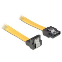 Delock SATA III kabel, 50cm, přímý/dolů, žlutý, kovová západka
