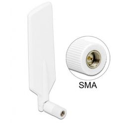 Delock LTE/Wi-Fi Dual Band anténa, 1 ~ 4 dBi, všesměrová, SMA, bílá