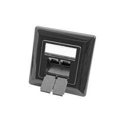 Zásuvka STP kat. 6 pod omítku, 2 konektory, vertikální přívod, tmavě šedá