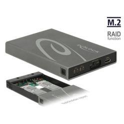 Delock Externí box pro 2x M.2 (SATA) SSD, USB 3.1 USB-C, RAID