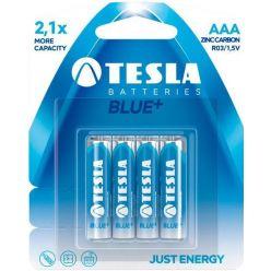 Tesla Blue+, zinko-uhlíkové AAA baterie, 4ks