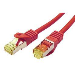S/FTP patchkabel kat. 7, s konektory RJ45, LSOH, 0,5m, červený
