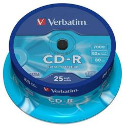 Verbatim CD-R ExtraProtection, 700MB, 52x, 25ks, spindle