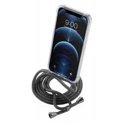 Transparentní zadní kryt Cellularline Neck-Case s černou šňůrkou na krk pro Apple iPhone 12 PRO
