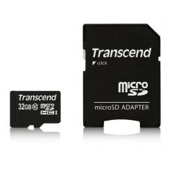Transcend 32GB microSDHC karta, UHS-I + adaptér