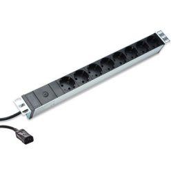 DIGITUS 1U hliníkové PDU, do racku, 10A zástrčka, 250V 50 / 60Hz, 8x zásuvky, IEC C14 zástrčka, pojistka