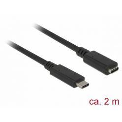 Delock prodlužovací USB 3.0 kabel USB-C, max. 3A, 2m, černý