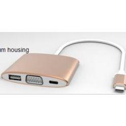 PremiumCord Převodník USB3.1 na VGA + USB3.0 + PD ( USB Power Delivery )