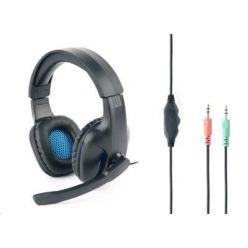 Gembird GHS-04 Gaming, herní sluchátka s mikrofonem, černo-modrá