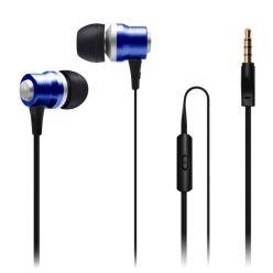 CONNECT IT Alu Sonics sluchátka do uší EP-224-BL s mikrofonem, 4 pin, modrá