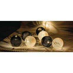 HQ HQLEDSLPBALL - LED dekorační řetěz, 10 LED, černé a bílé koule