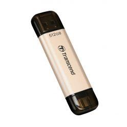 Transcend JetFlash 930C 512GB, USB 3.0 flash disk, USB-A + USB-C, 420R/400W, zlatý