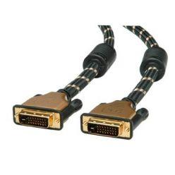 Roline Gold dual link DVI kabel, DVI-D(M) -> DVI-D(M), s ferity, 2m, zlacené