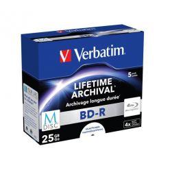 Verbatim M-DISC BD-R, 25GB, printable, 4x, 5ks, jewel case