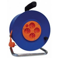 Prodlužovací kabel 30m na bubnu, průřez 1mm, 4 zásuvky, oranžový