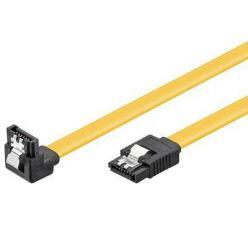 PremiumCord SATA III kabel, 75cm, kovová západka, 90°, žlutý