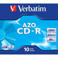 Verbatim CD-R AZO Crystal, 700MB, 52x, 10ks, jewel case